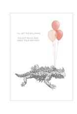 """""""I'll Get the Balloons"""" Birthday Greeting Card - Black and White and Red All Over"""