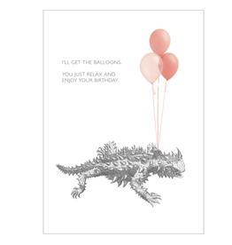 """I'll Get the Balloons"" Birthday Greeting Card - Black and White and Red All Over"
