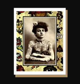 Tattooed Lady Greeting Card - Umlaut Brooklyn