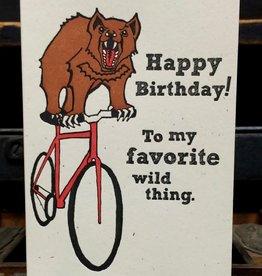 Wild Thing Birthday Greeting Card - Lady Pilot Letterpress