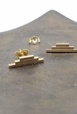 Annika Inez Triple Bar Stud Earrings Gold Fill