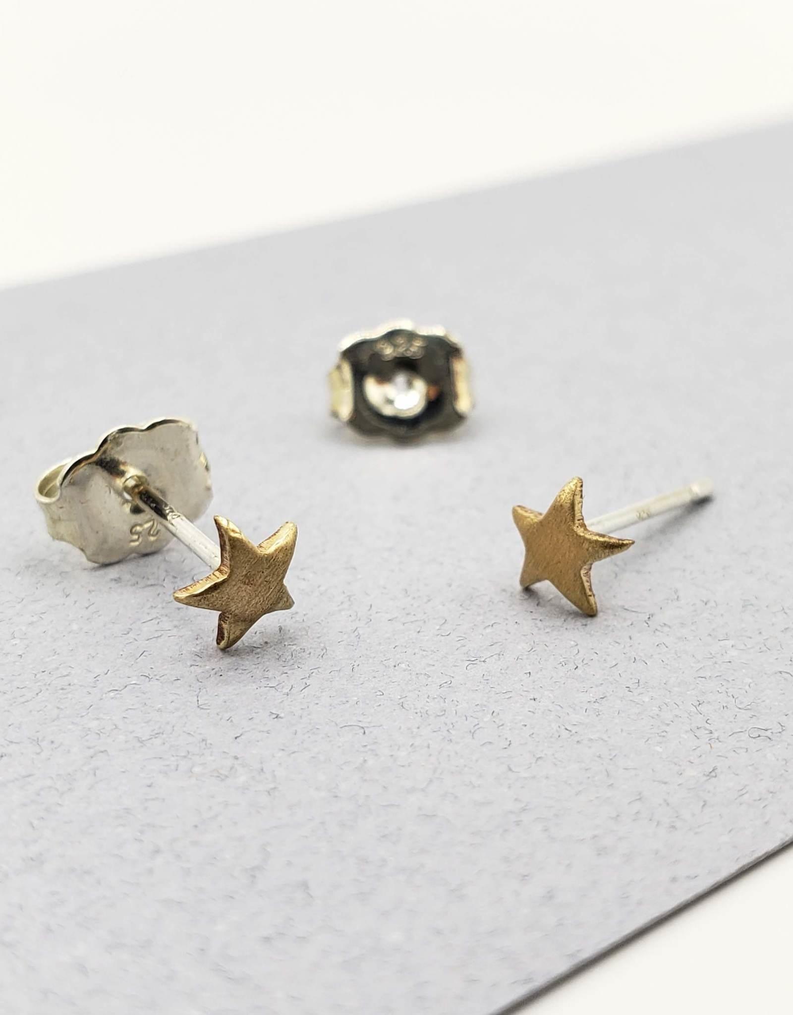 Peter James Jewelry Star Brass Stud Earrings