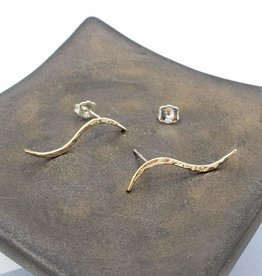 Peter James Jewelry Curved Bar Post Earrings, Gold Fill