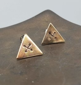 Totinette Stamped Crossed Arrows Triangle Post Earrings in Brass