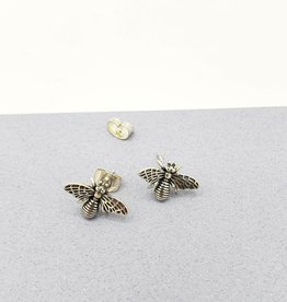 Tiger Mountain Detailed Bee Stud Earrings in Sterling Silver