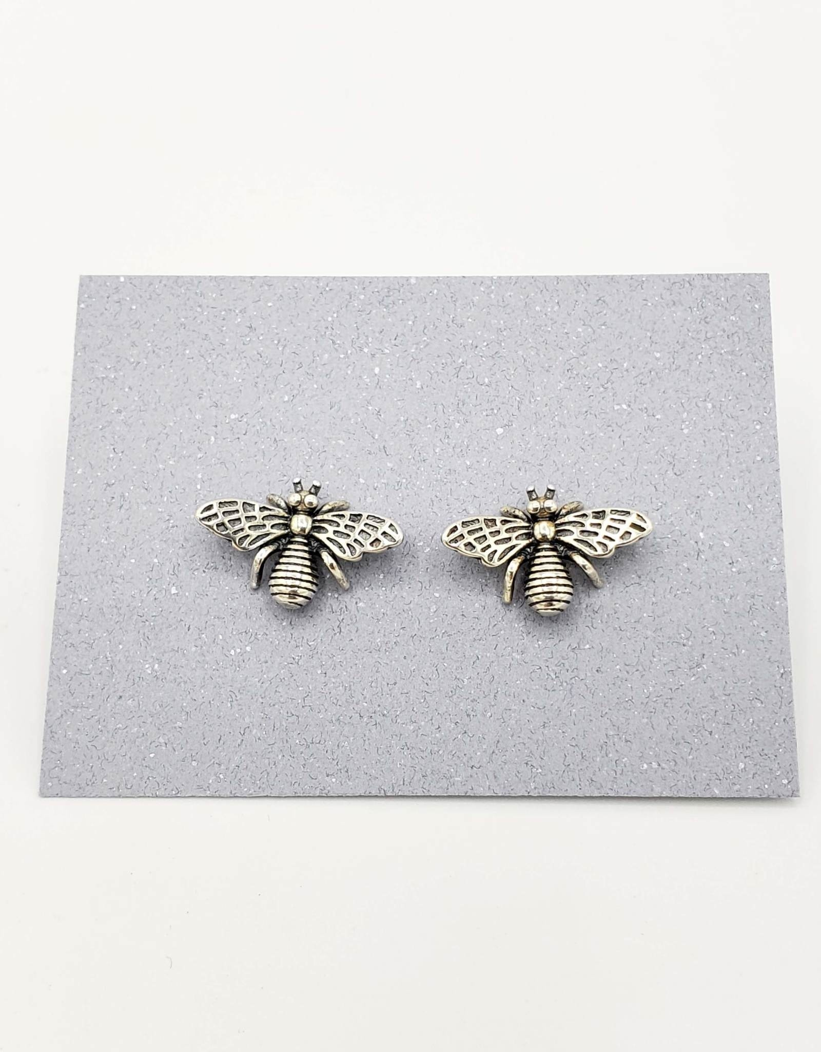 Tiger Mountain Detailed Bee Stud Earrings in Sterling Silver