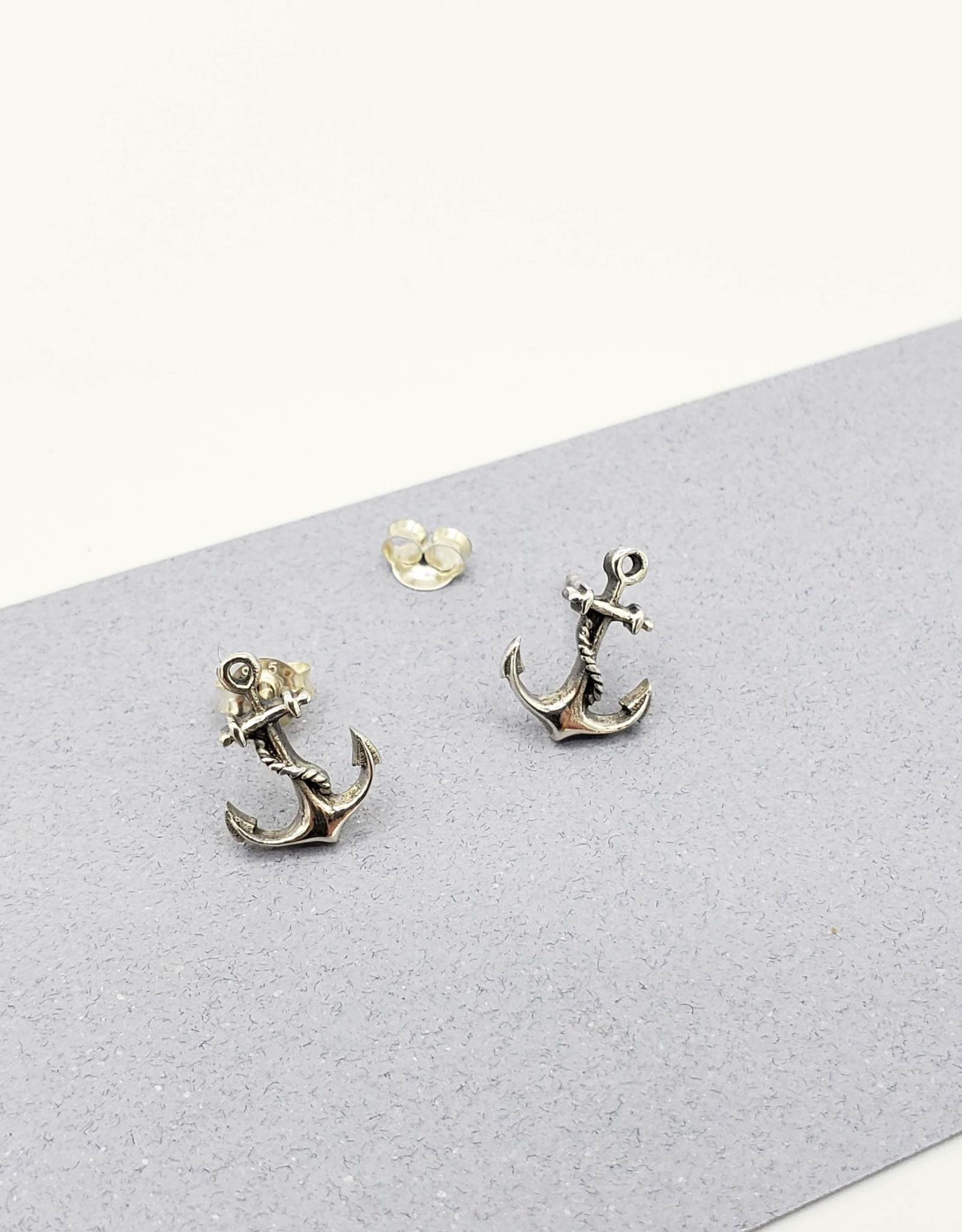 Tiger Mountain Anchor Earrings Sterling Silver Posts
