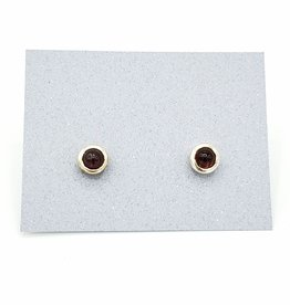 Tiger Mountain Garnet Bezel Post Earrings, Sterling Silver