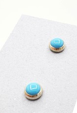 Turquoise Bezel Post Earrings, Medium