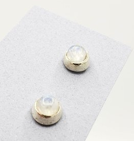 Tiger Mountain Round Rainbow Moonstone Post Earrings Sterling Silver