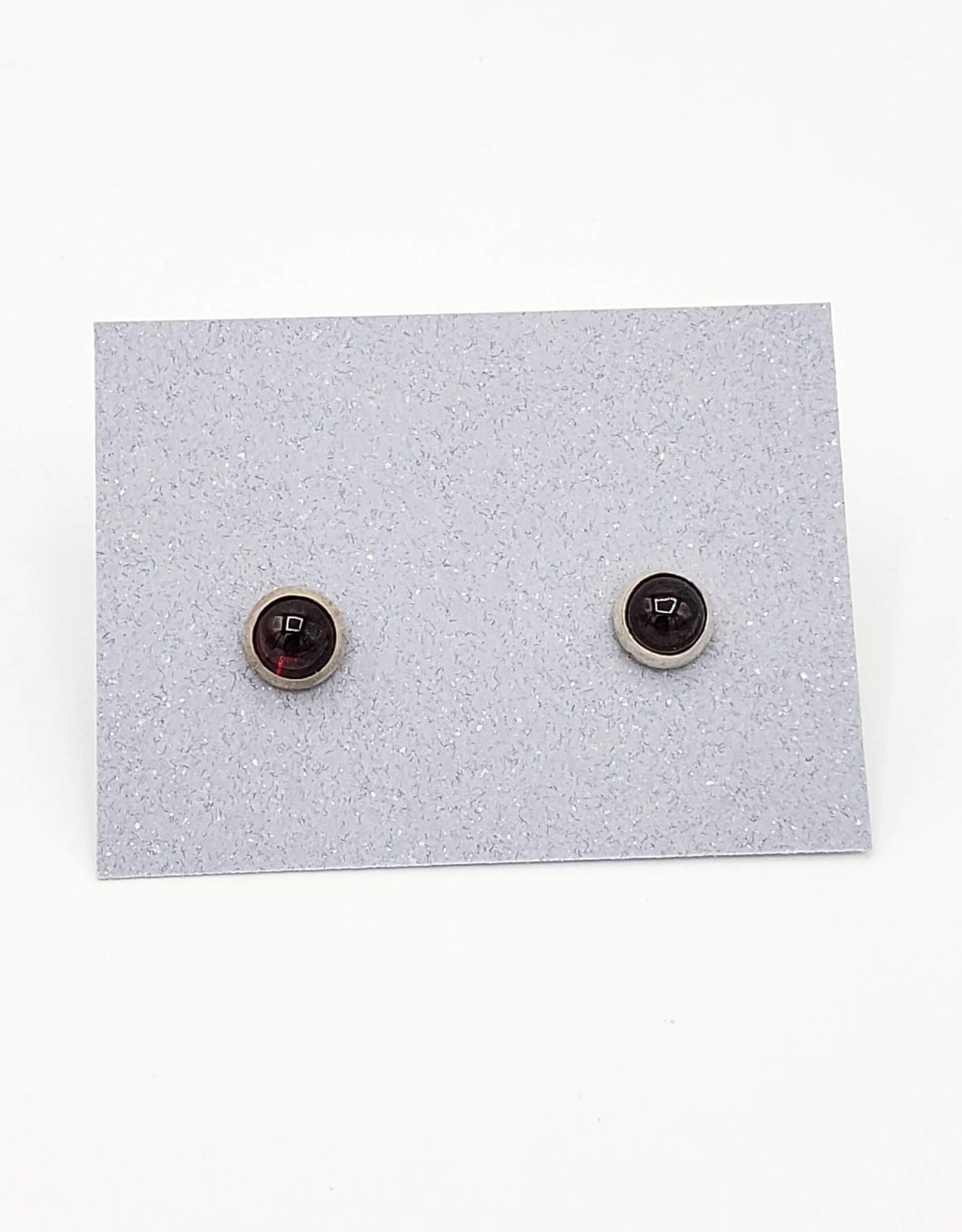 Garnet Bezel Post Earrings, Medium