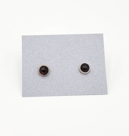 Garnet Bezel Post Earrings, Medium