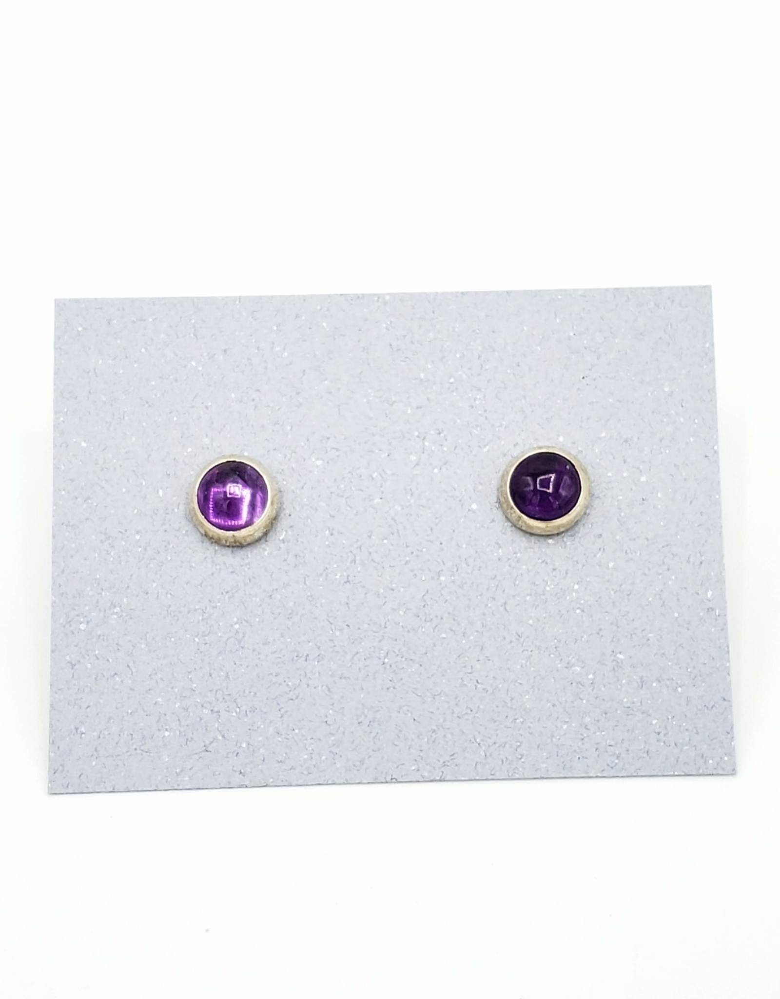 Amethyst Bezel Post Earrings, Medium