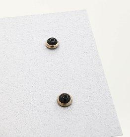 Black Onyx Small Bezel Post Earrings, Sterling Silver