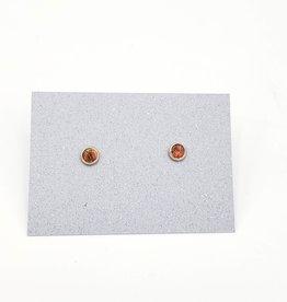 Red Opal Bezel Post Earrings Sterling Silver, 4mm