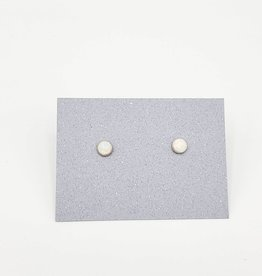 White Opal Bezel Post Earrings Sterling Silver, 4mm
