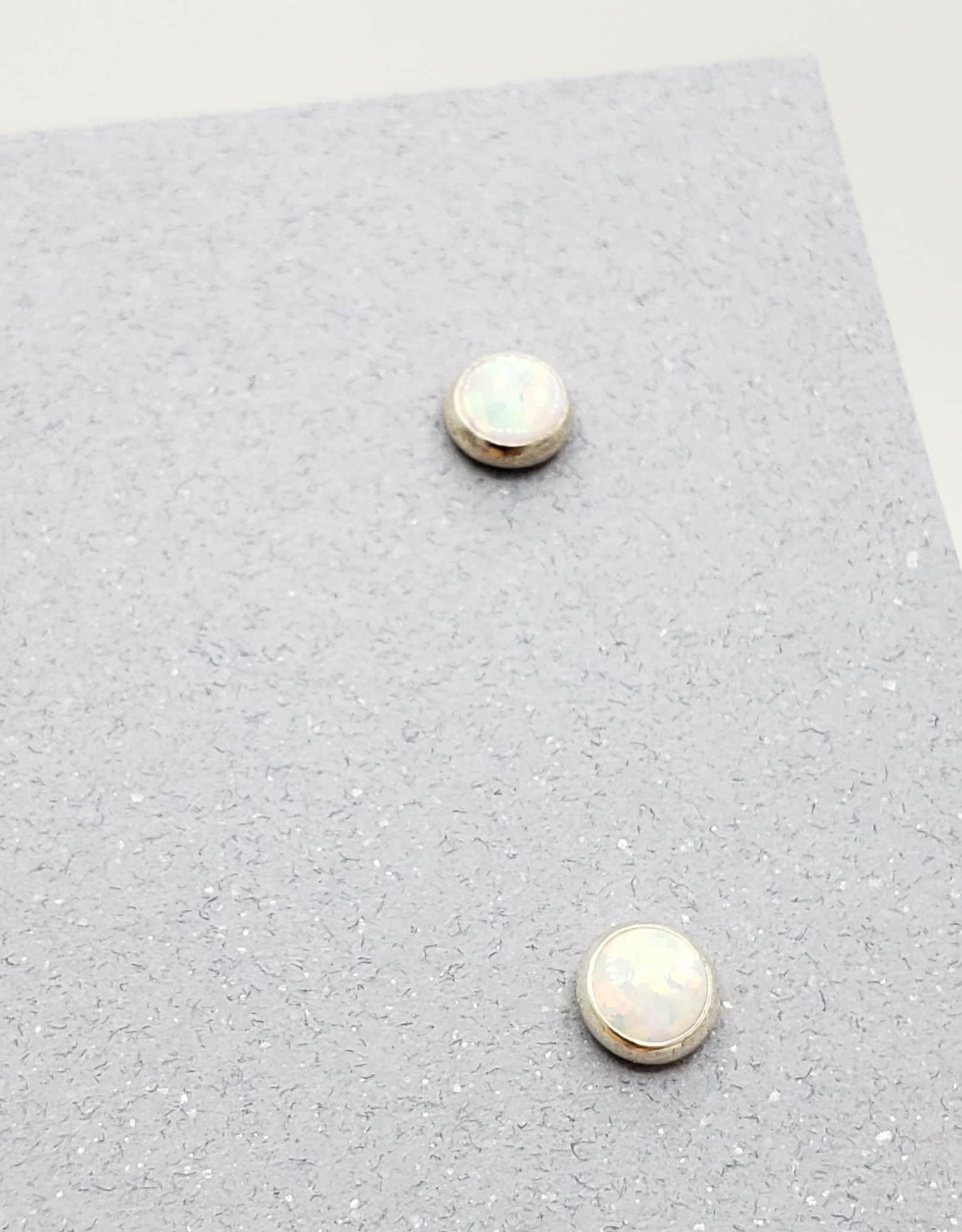 White Opal Bezel Post Earrings Sterling Silver, 4mm