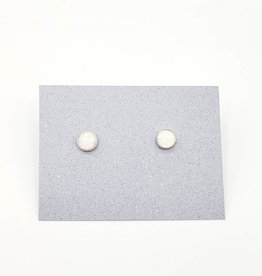 White Opal Bezel Post Earrings Sterling Silver, 5mm