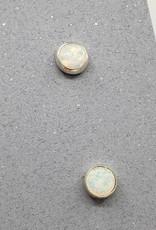 White Opal Bezel Post Earrings Sterling Silver, 5mm