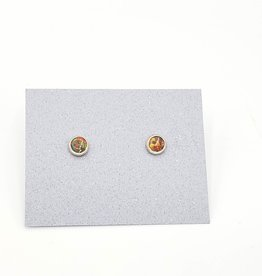 Red Opal Bezel Post Earrings Sterling Silver, 5mm