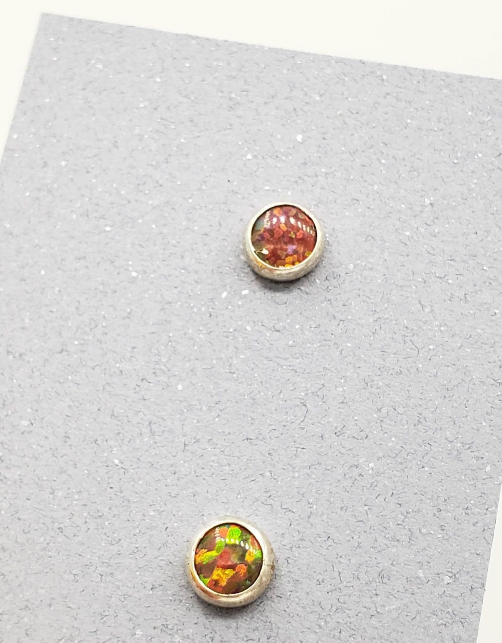 Red Opal Bezel Post Earrings Sterling Silver, 5mm