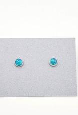 Blue Opal Bezel Post Earrings Sterling Silver, 5mm
