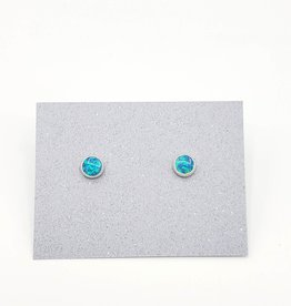 Blue Opal Bezel Post Earrings Sterling Silver, 5mm