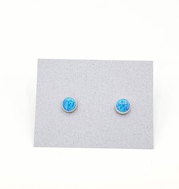 Blue Opal Bezel Post Earrings Sterling Silver, 6mm