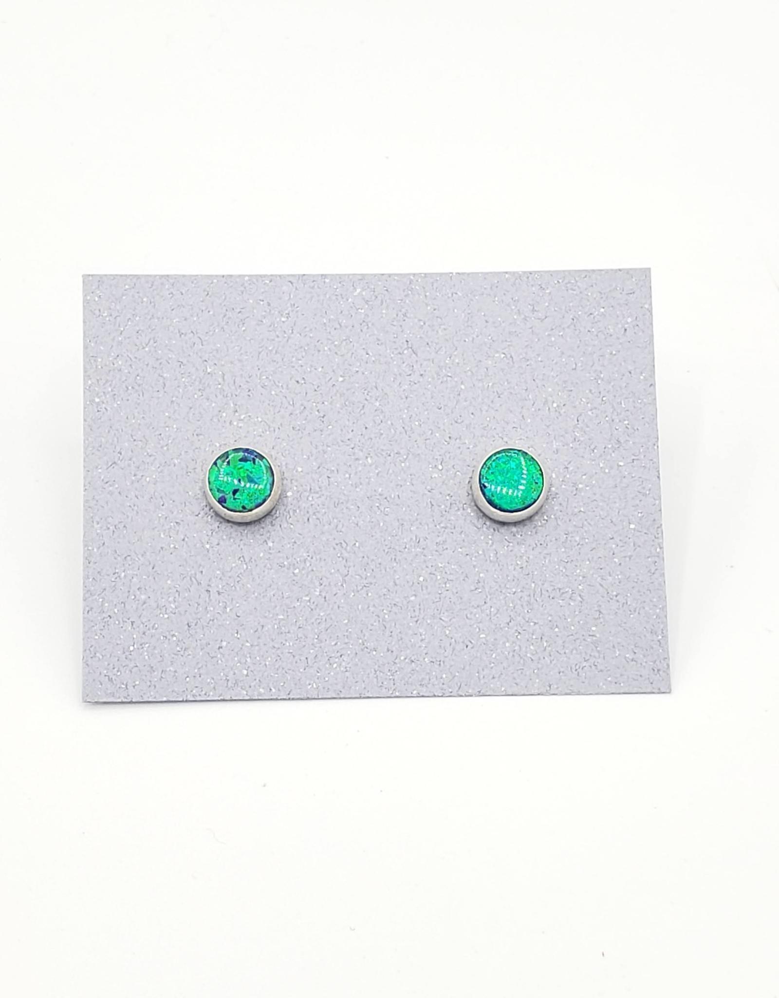 Green Opal Bezel Post Earrings Sterling Silver, 6mm