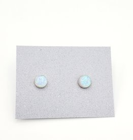 White Opal Bezel Post Earrings Sterling Silver, 6mm