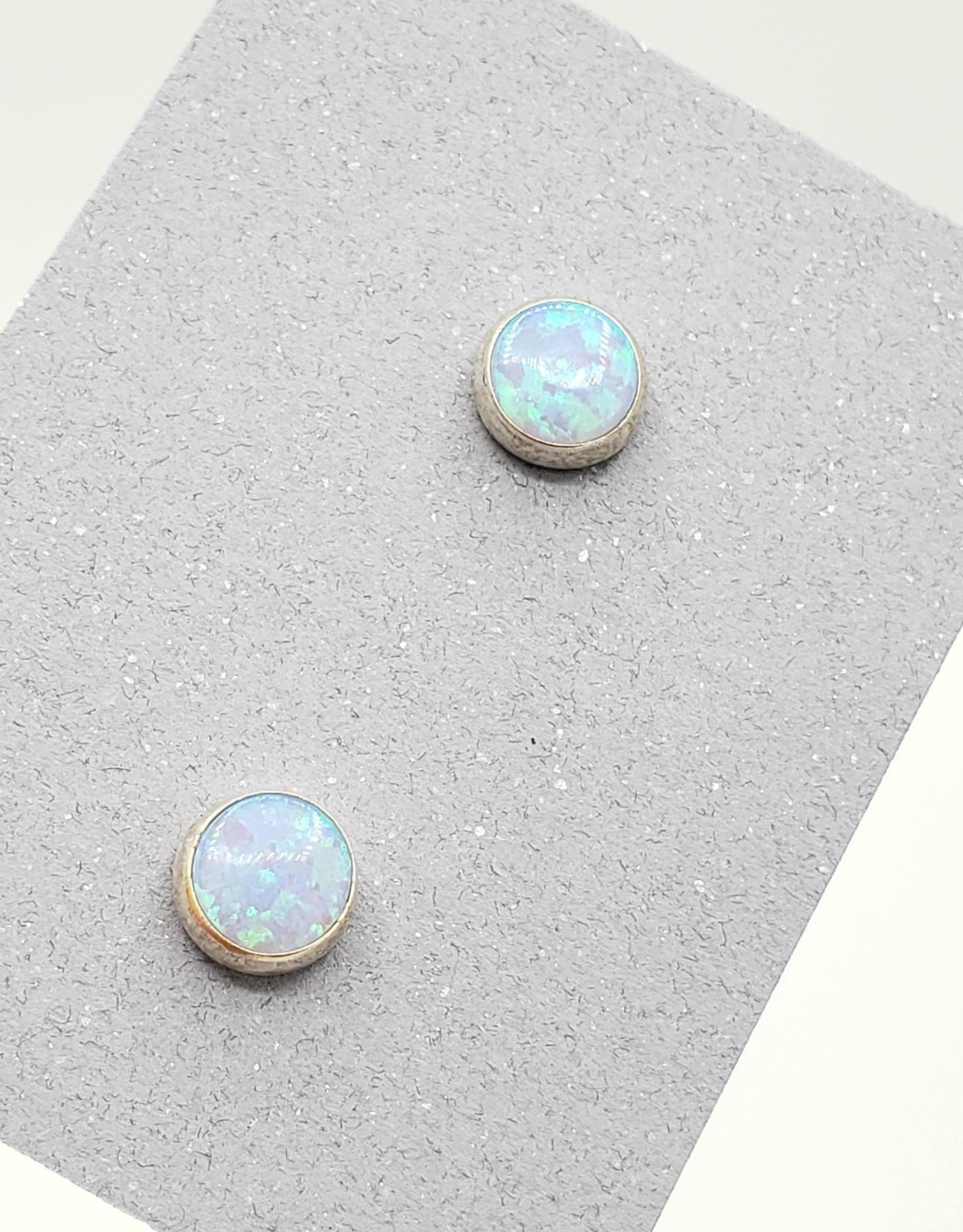 White Opal Bezel Post Earrings Sterling Silver, 6mm