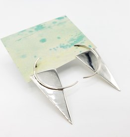 Retro Triangle Shapes Sterling Silver Post Earrings