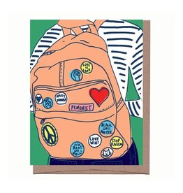 Woke Button Backpack Greeting Card - La Familia Green