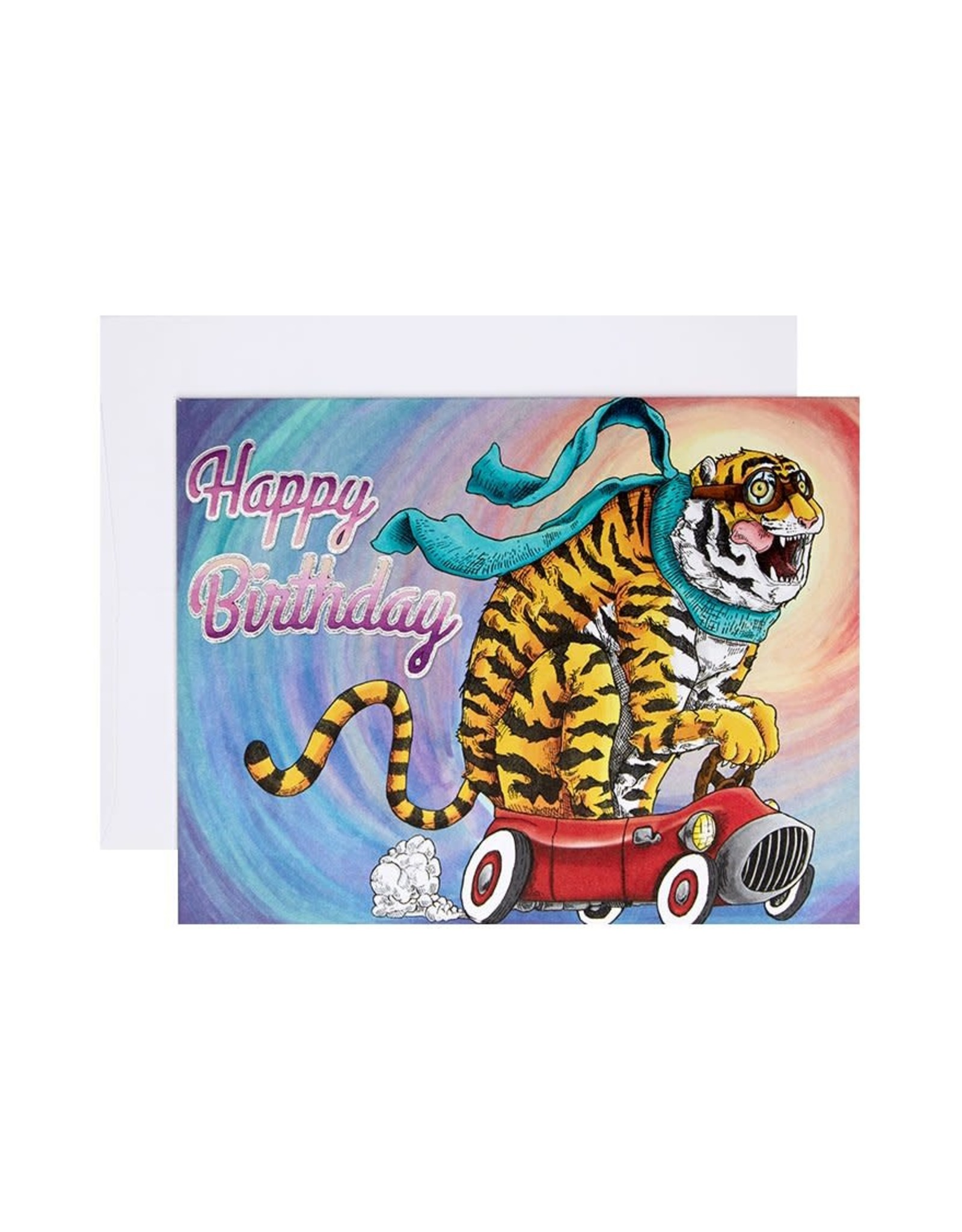 Michael Roger Tiger Car Birthday Card by Michael Roger