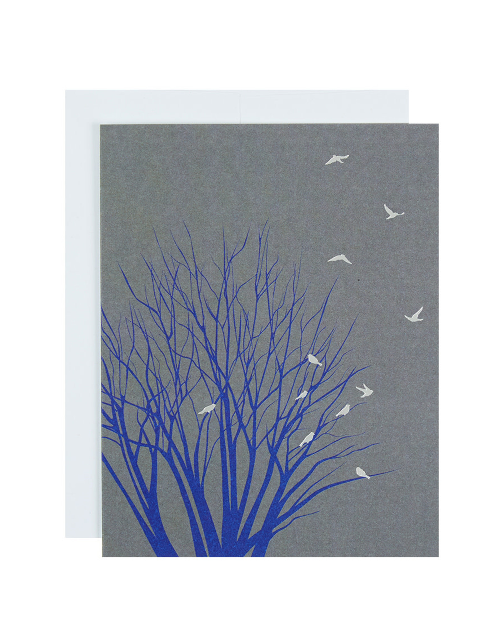 Michael Roger Tree with Birds Blank Greeting Card  by Michael Roger