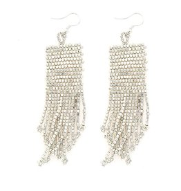 "Ink + Alloy 3"" Silver Seed Bead Dangle Earrings - INK+ALLOY"