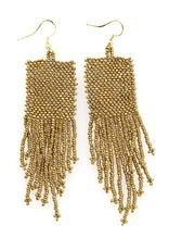 Seed Bead Solid Gold Earrings 3""