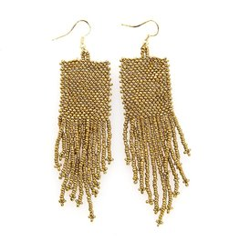 """Ink + Alloy Seed Bead Solid Gold Earrings 3"""""""