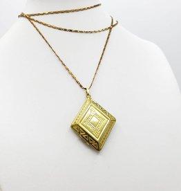 IGNY Vintage Diamond Shaped Brass Locket
