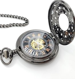 IGNY Black Filigree Mechanical Pocket Watch
