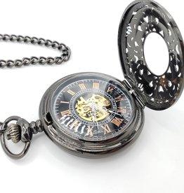 IGNY Black Filigree Mechanical Pocket Watch