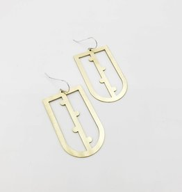 Amaree and Reese Bisected U-shape with dots on vertical line Lasercut Brass Earrings