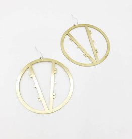 Amaree and Reese V-shape within a Circle large Lasercut Brass Earrings