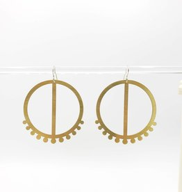 Amaree and Reese Bisected Circle with dotted bottom Large Lasercut Brass Earrings