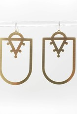 Amaree and Reese Wide Shield with small dotted ''v'' at top Lasercut Brass