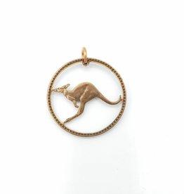 Lazy Cat Cut Coins Handcut Coin Pendant - Kangaroo- Australia