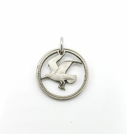 Lazy Cat Cut Coins Hand-cut Coin Pendant - Barbados seagull