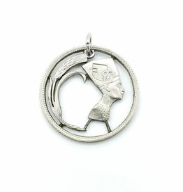 Lazy Cat Cut Coins Hand-cut Coin Pendant - Nefertiti- Egypt
