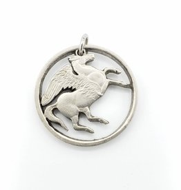 Lazy Cat Cut Coins Hand-cut Coin Pendant - Pegasus- Greece