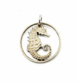 Lazy Cat Cut Coins Hand-cut Coin Pendant - Seahorse- Singapore